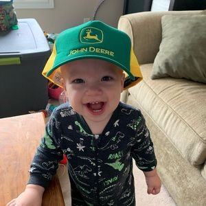 John Deere Snap Back Hat Green Yellow Mesh